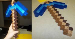 3D Pickaxe Perler by Libbyseay