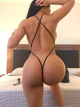 G string Thong on the bed, Big ASS