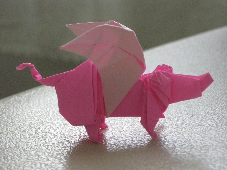 origami flying pig by saberfiretiger on deviantart