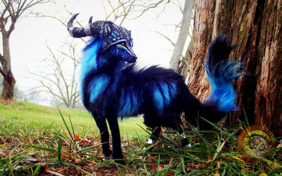 --SOLD--Posable Fantasy Moon Dust Wolf