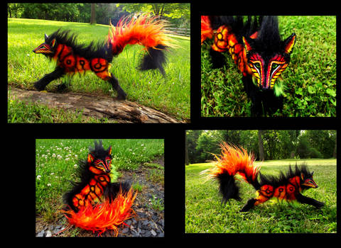 --SOLD--Poseable Hand Made FIRE WOLF!