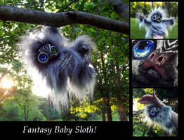 --SOLD--Poseable Hand Made Fantasy Baby Sloth!