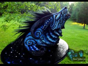 --SOLD--Fantasy Moondust Wolf Sculpture!