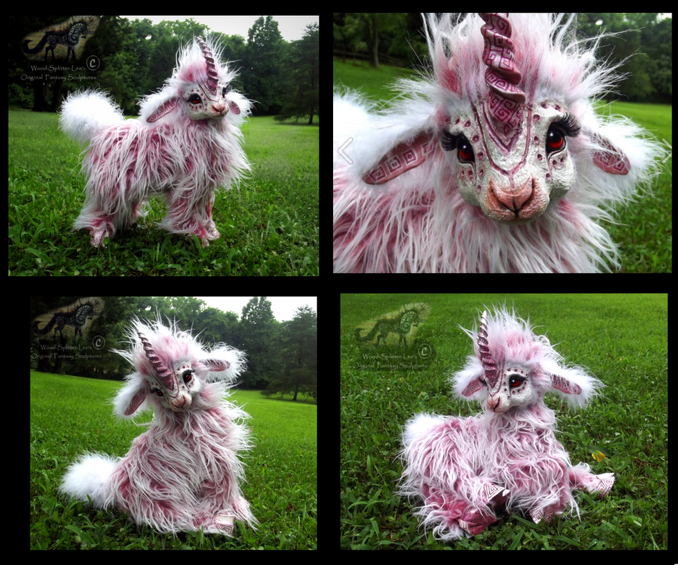 -SOLD-Hand Made Poseable Baby Cotton Candy Unicorn by Wood-Splitter-Lee