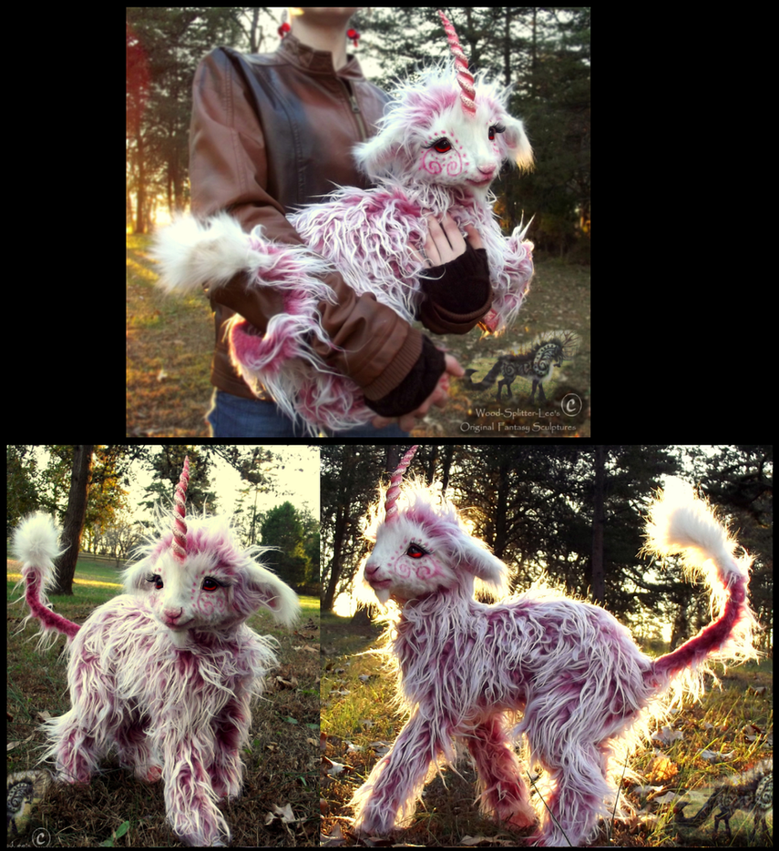 SOLD--Hand Made Posable Baby Sherbet Unicorn! by Wood-Splitter-Lee