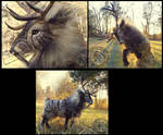 -SOLD-Hand Made Poseable Fantasy Prehistoric Stag!