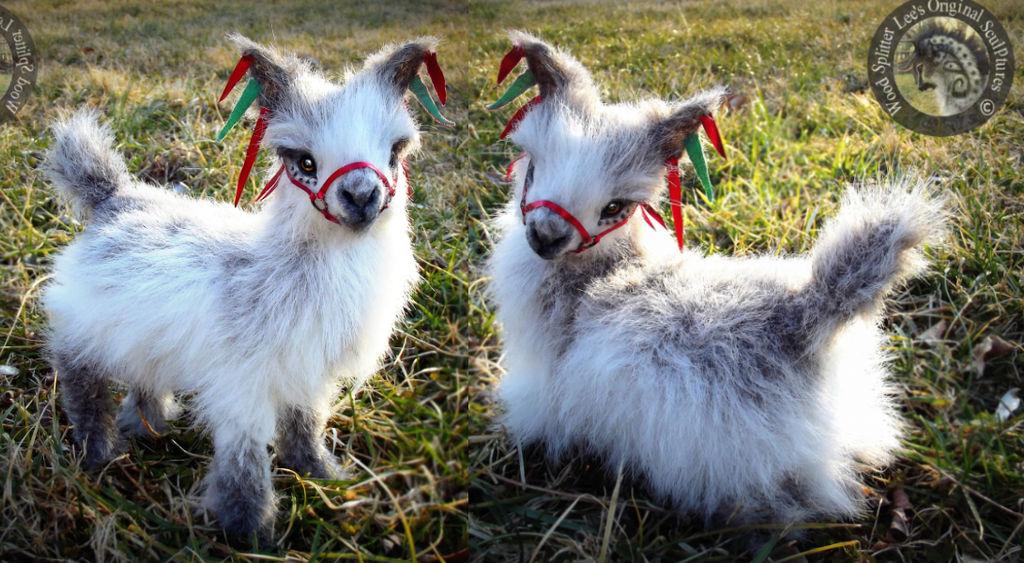 -SOLD- Hand Made Poseable Fantasy Baby Llama!