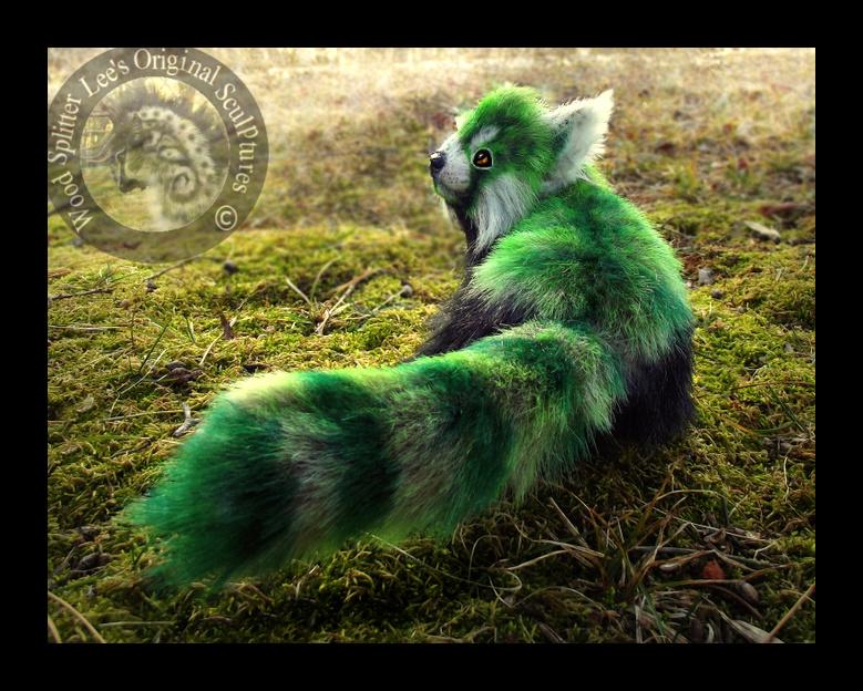 SOLD- Hand Made Poseable Fantasy Green Panda