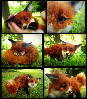 SOLD HAND MADE Poseable Baby Fox!