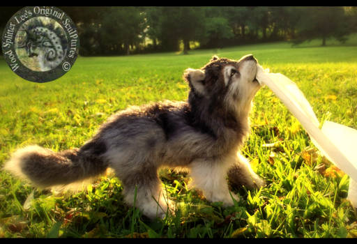SOLD HAND MADE Poseable Baby Wolf Pup!