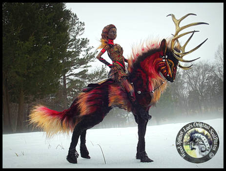 SOLD Poseable FIRE Stag and Rider