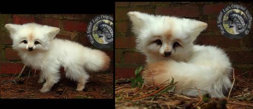 SOLD - Handmade Poseable Baby Vanilla Fox!