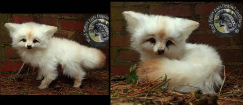 SOLD - Handmade Poseable Baby Vanilla Fox!