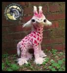SOLD-  Handmade Poseable Baby Strawberry Giraffe!