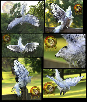 SOLD HANDMADE Poseable Winged Fantail Moon Wolf!