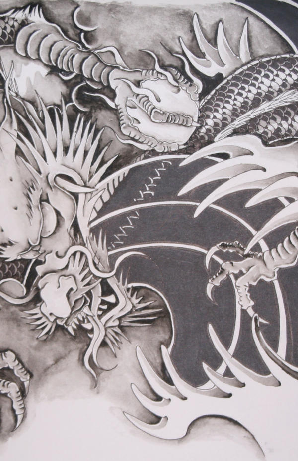 Chinese dragon by brokenpuppet86 on deviantart for Japanese dragon painting