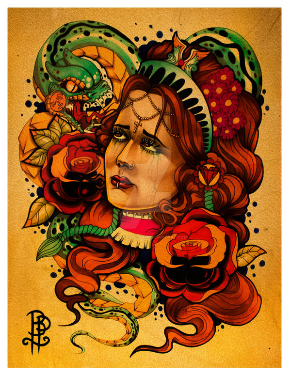 Unhappy Valentine, Girl with snake and roses by brokenpuppet86
