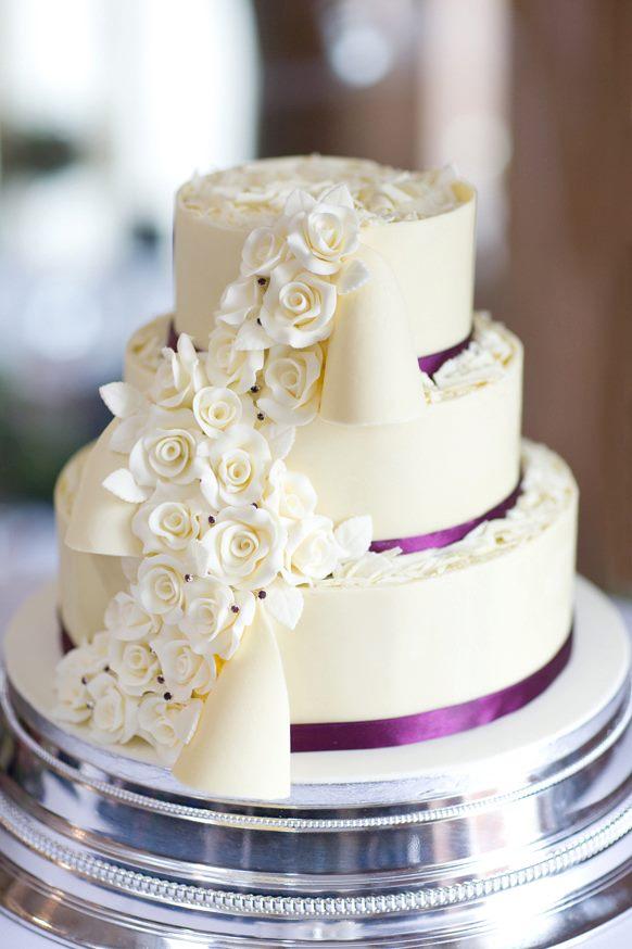 White chocolate wrapped wedding cake by KarenJerram