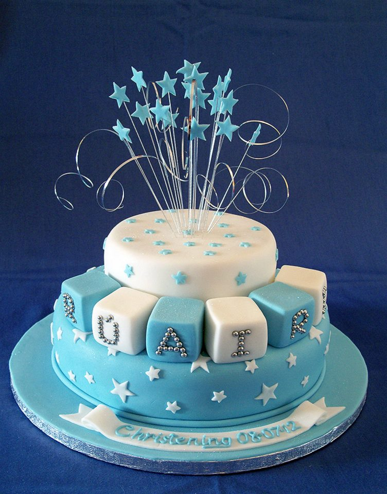 Blue stars christening cake by KarenJerram on DeviantArt