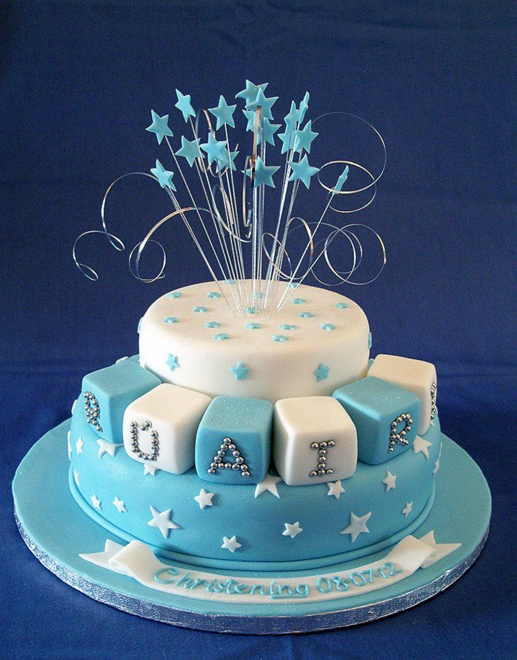 Blue stars christening cake by KarenJerram