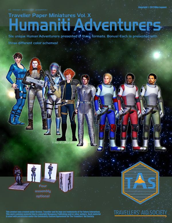 Traveller Paper Minis Vol 10 Humaniti Adventurers by MADMANMIKE