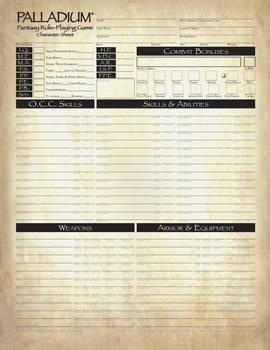 Pathfinder Style Palladium Fantasy Character Sheet