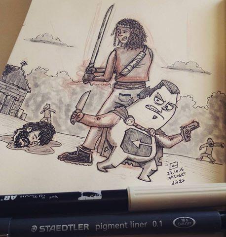 #inktober day 27 - Cartuman in walking dead by CartumanBrasil