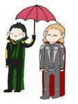 Thor, Loki and an Umbrella