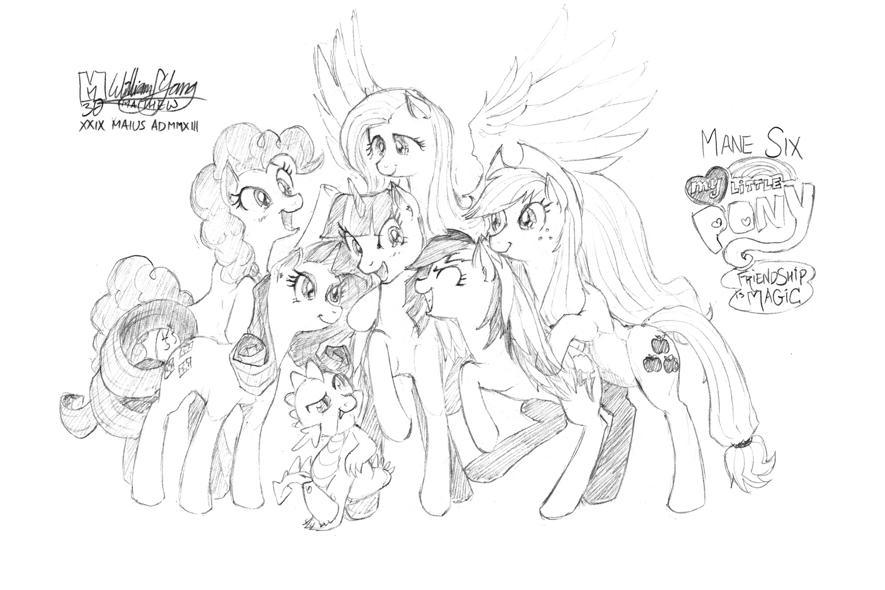 Mane 6 coloring pages -  Mane Six And Spike Group Shot By Meto30