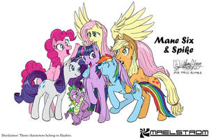 Mane Six and Spike black lines and colours version by meto30