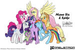 Mane Six and Spike black lines and colours version