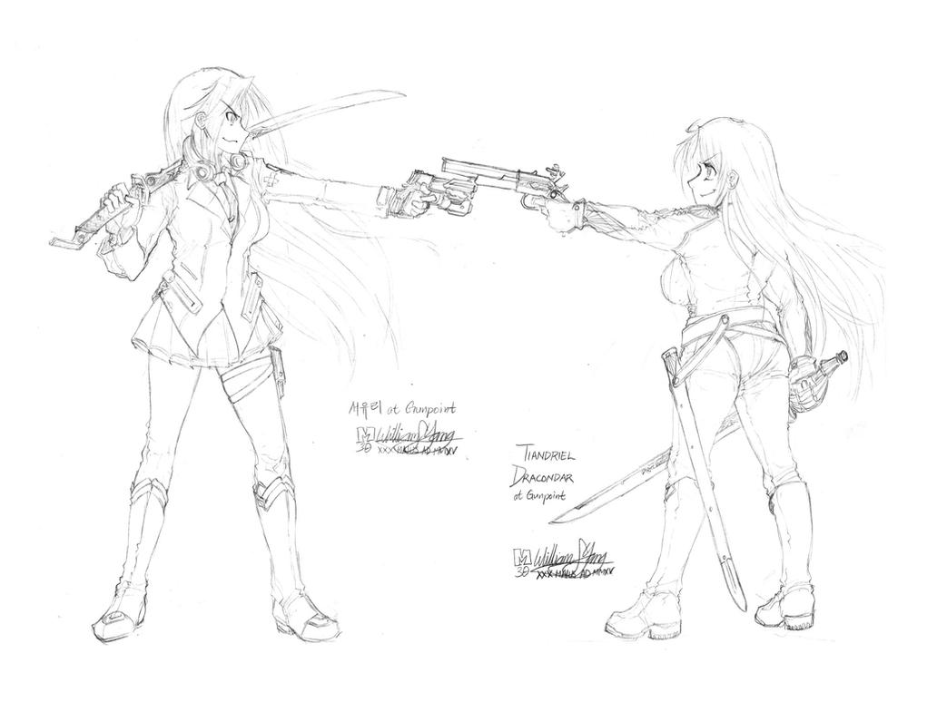 At Gunpoint: Tia and Seoyuri by meto30