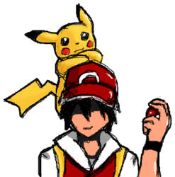 Trainer Red and His level 100 Pikachu.