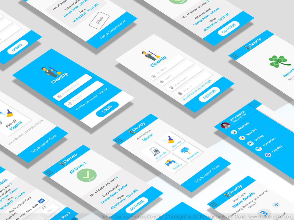 Online Cleaning Service App(CLeanUp) Concept UI UX by