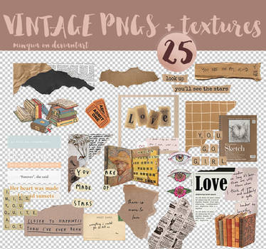 VINTAGE PNG PACK + collage textures by miwqua