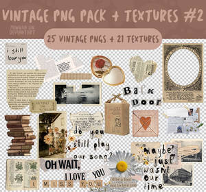 VINTAGE PNG PACK + COLLAGE TEXTURES #2 by miwqua