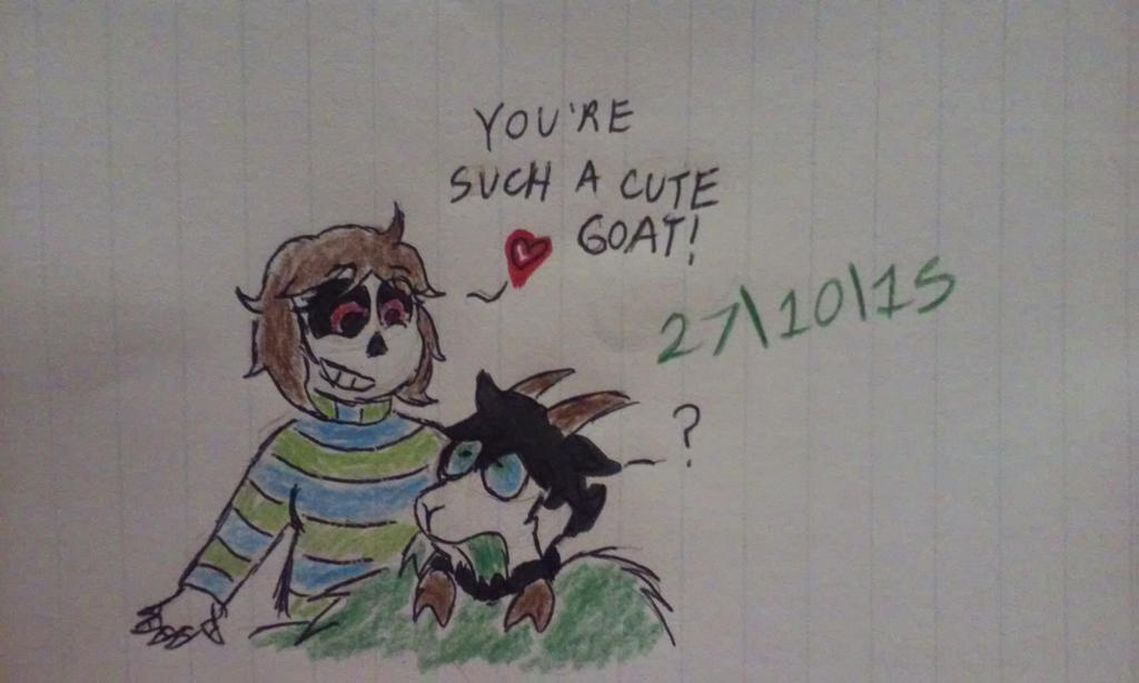 (Inktober 17) When a goat meets a skeleton by Revenir-Ghoul