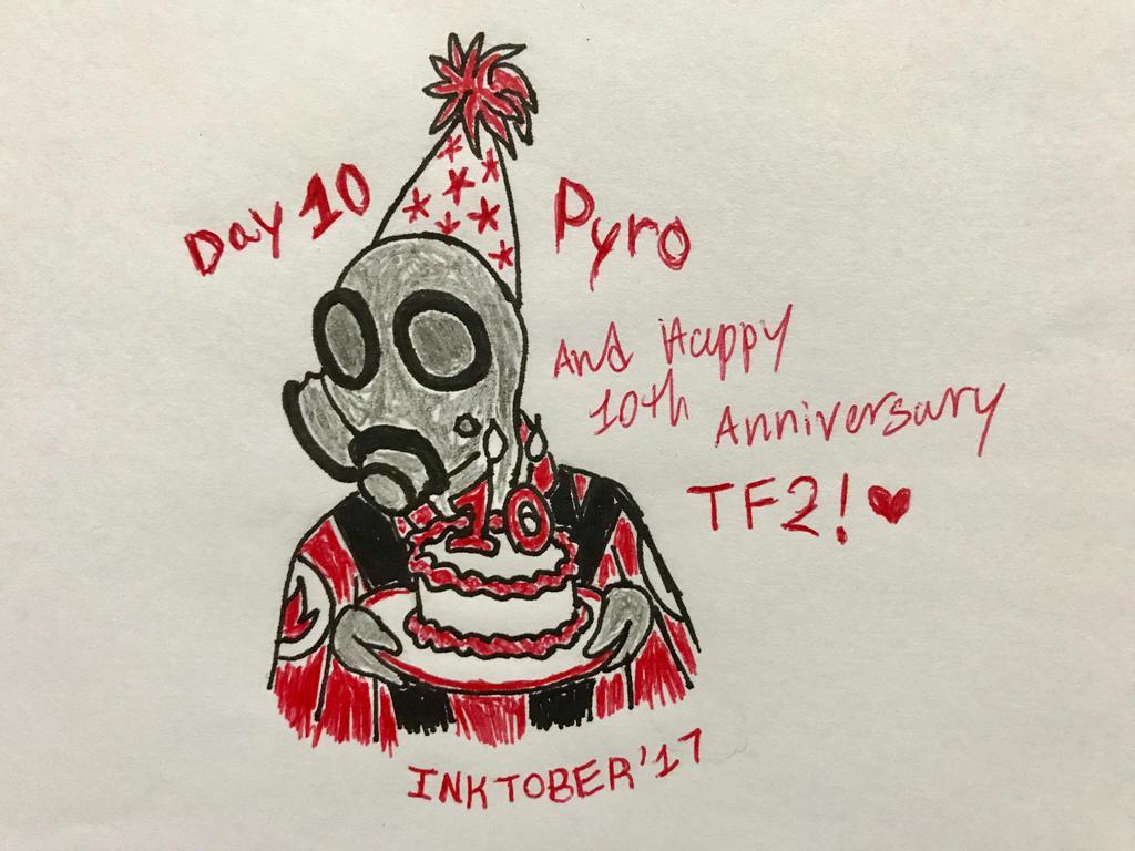 Inktober Day 10- Pyro/10 years by Revenir-Ghoul