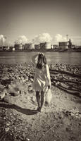 Industrial landscape and Girl
