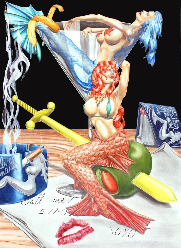 Mermaid In A Martini Glass By Slax421 On Deviantart