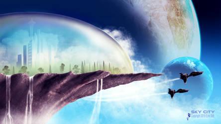 Sky City - FREE WALLPAPER by Redwoodjedi