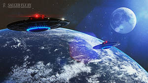Saucer Fly By - Wallpaper