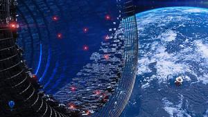 Terra 1 Mega Station and Stargate - Wallpaper