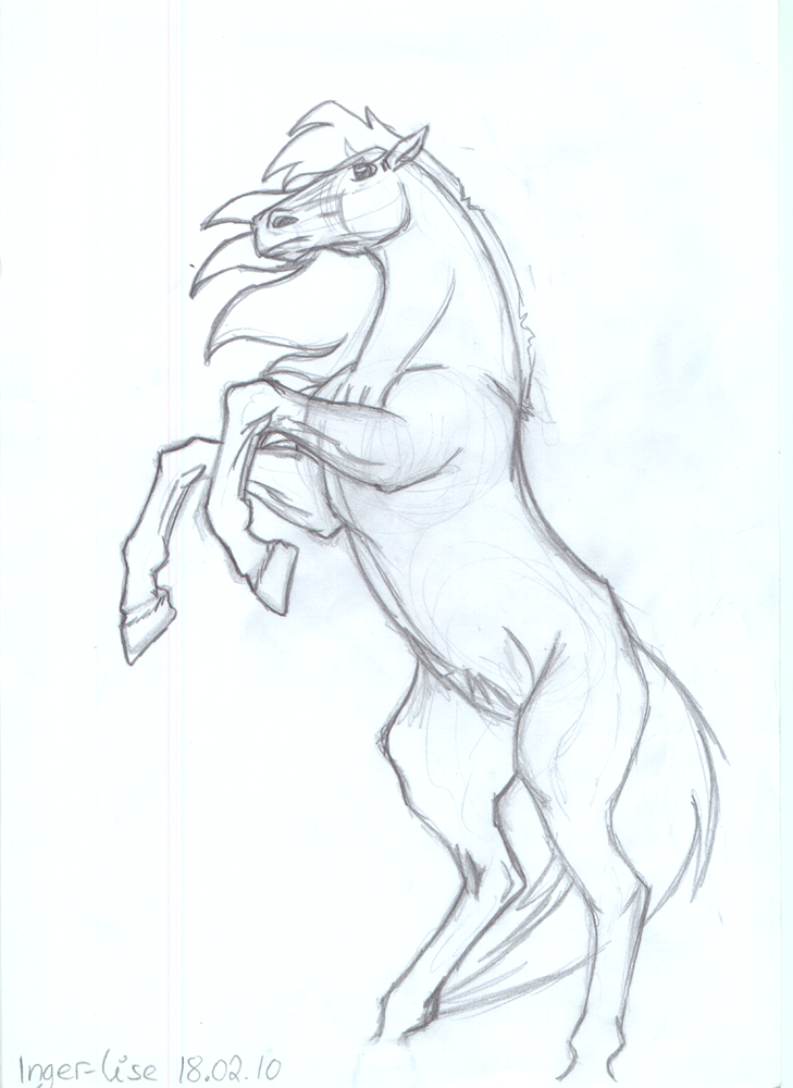 Rearing Horse Easy Coloring Pages