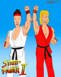 Beavis and Butthead as Ken and Ryu (Color) by MDTartist83