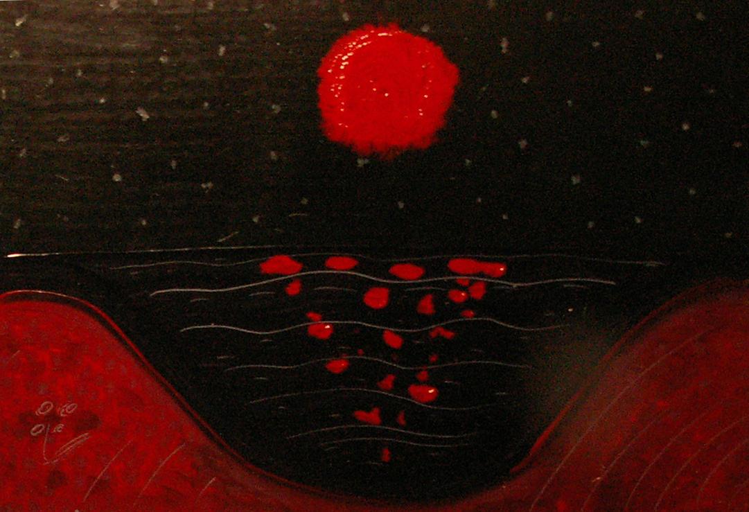 1366x768 red moon ocean - photo #9