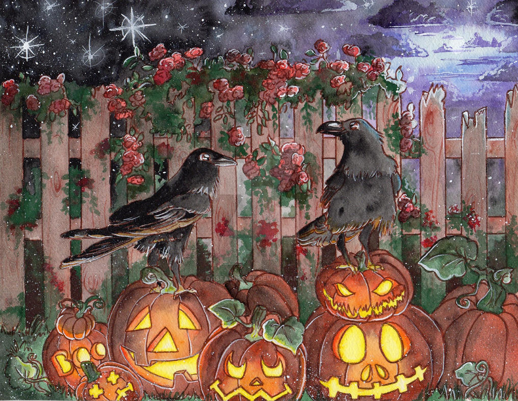 Pumpkins and Raven by DasFarbspiel