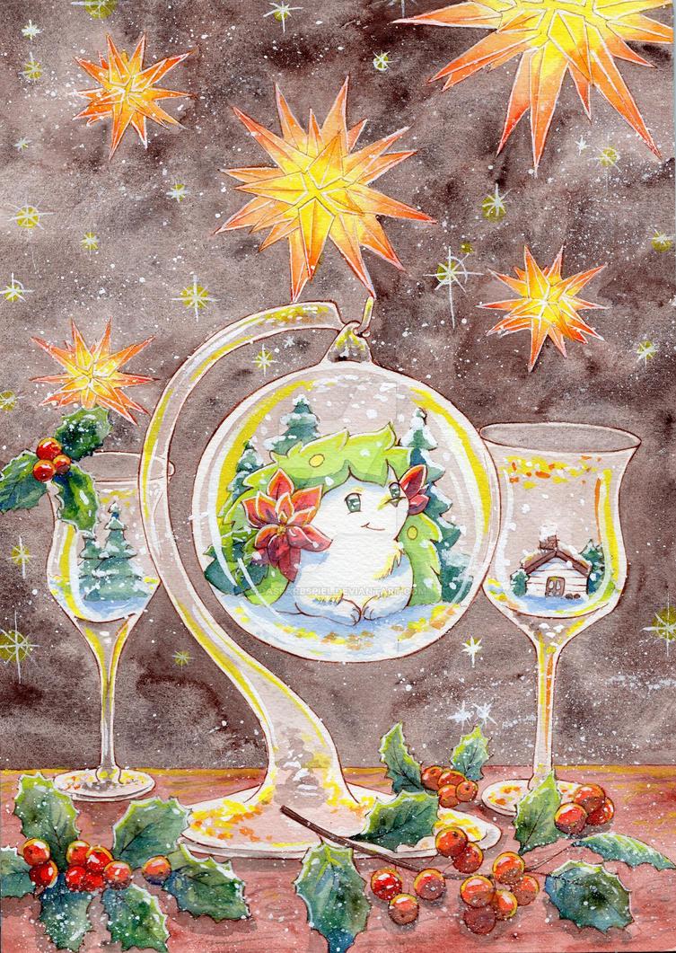Shaymin And The Poinsettia by DasFarbspiel