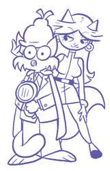 Slylock Fox and Cassandra Cat by shuffle001