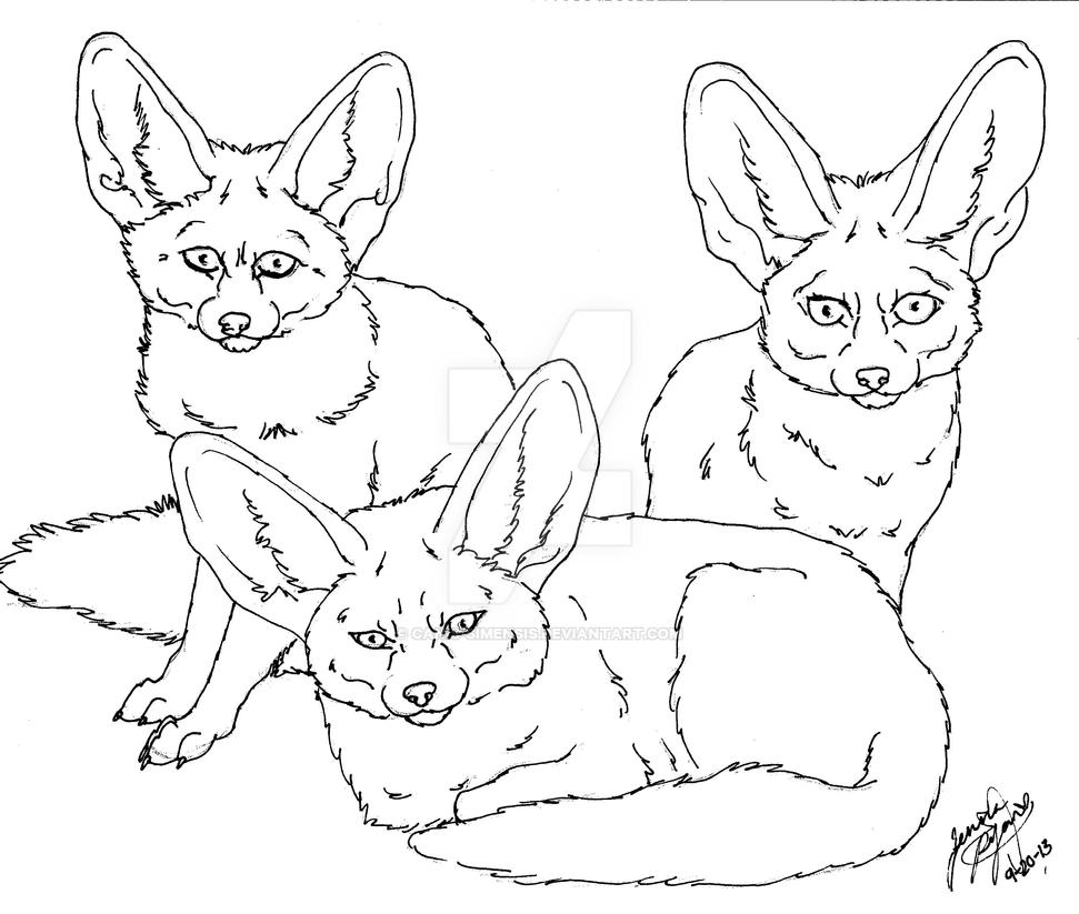 fennec foxes lineart by Canis-Simensis on DeviantArt